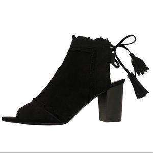 Hot Kisses black heeled ankle booties with tassel